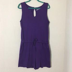 New York & Company Sleeveless Romper Purple Sz L